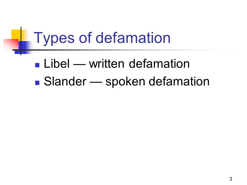 Types of defamation Libel — written defamation