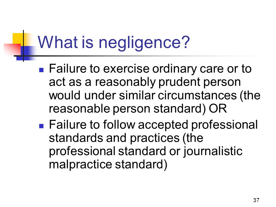 JOMC 164, Section 2 What is negligence