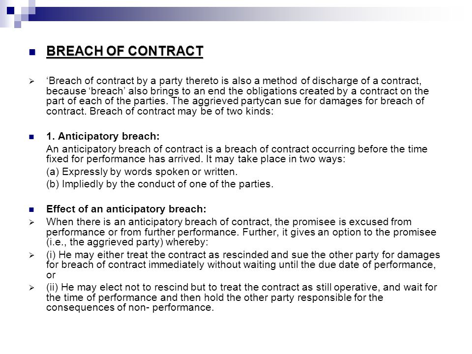 breach of contract essays