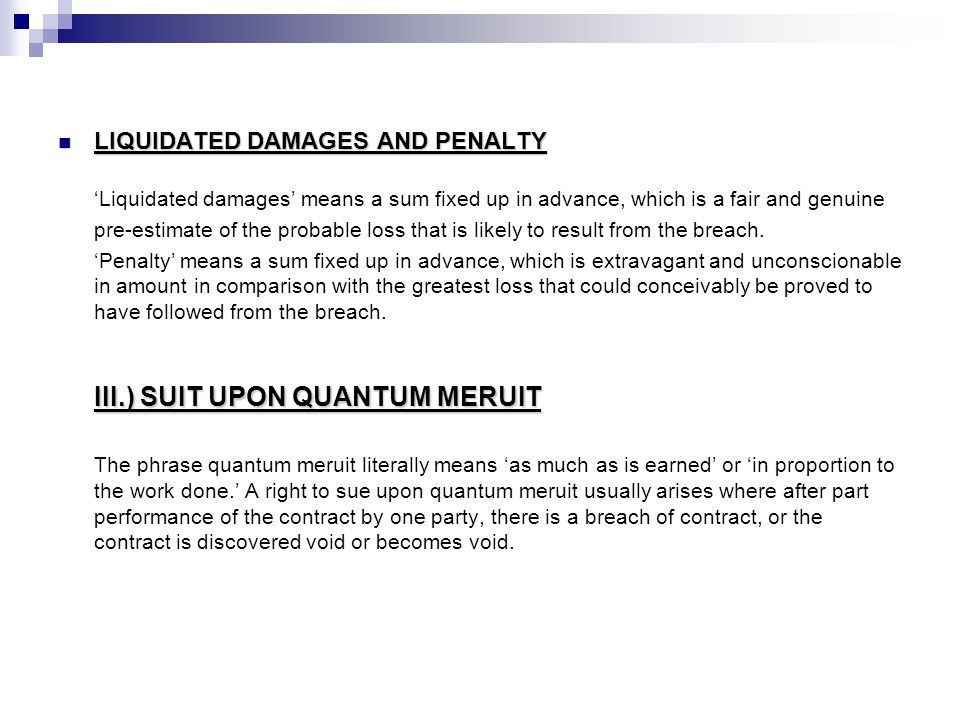 III.) SUIT UPON QUANTUM MERUIT