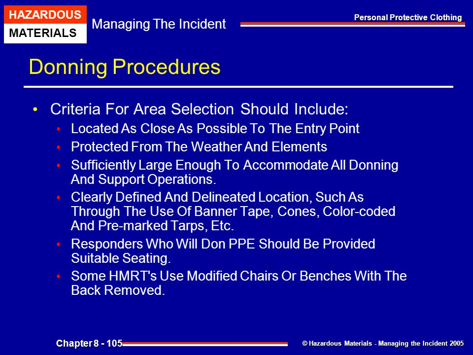 Donning Procedures Criteria For Area Selection Should Include: