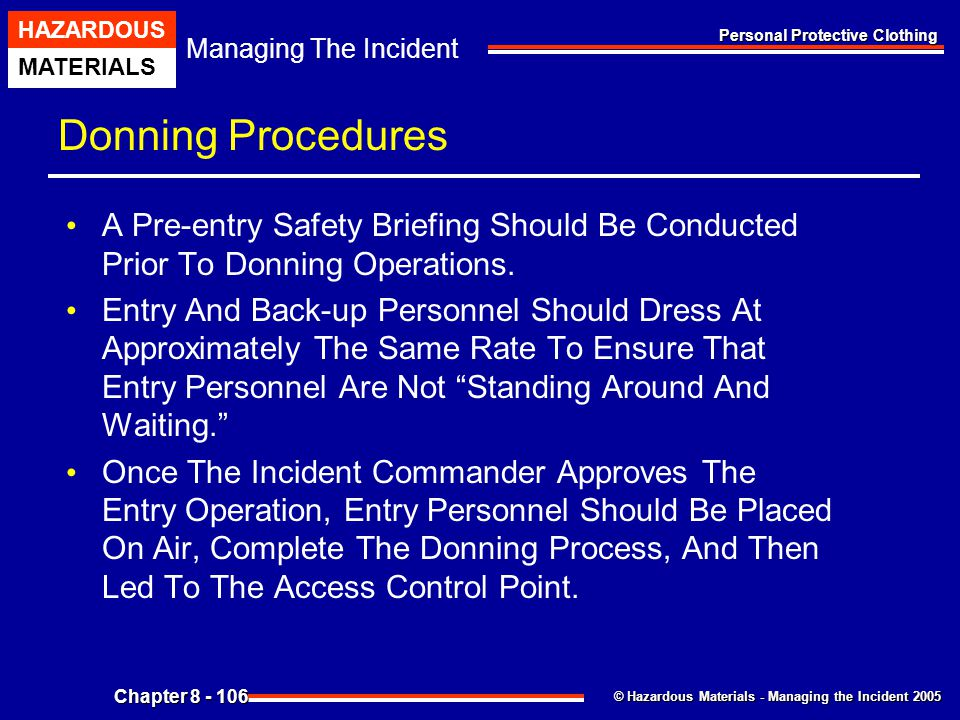Donning Procedures A Pre-entry Safety Briefing Should Be Conducted Prior To Donning Operations.