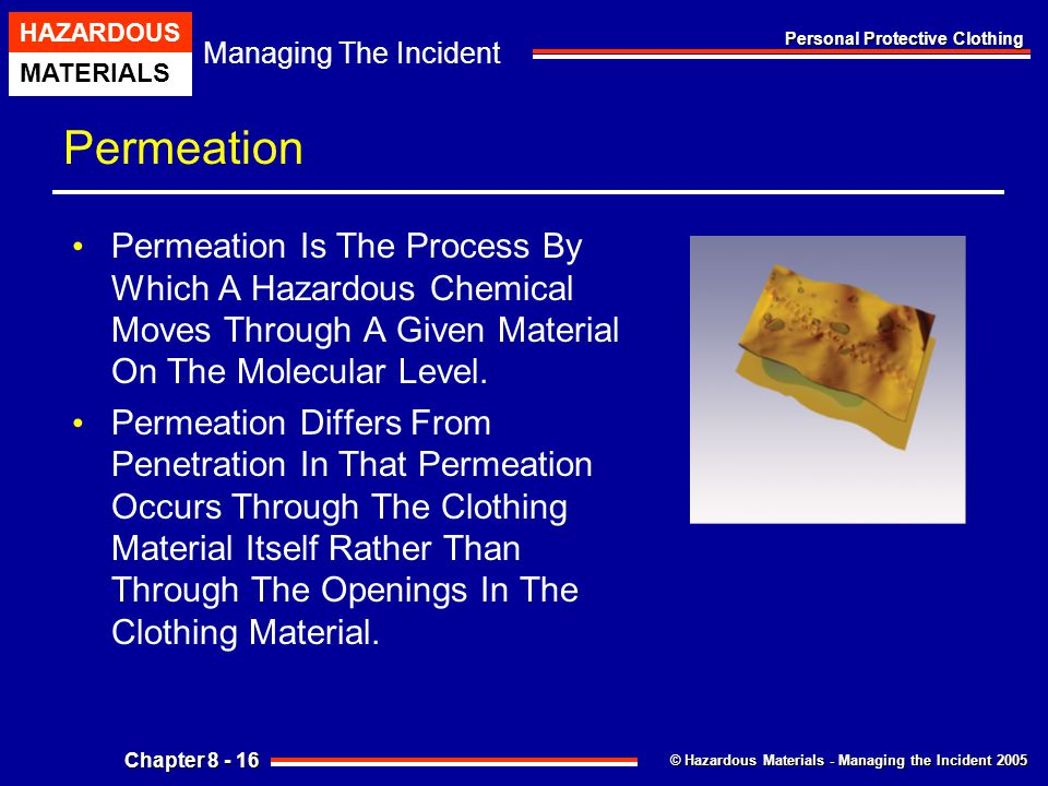 Permeation Permeation Is The Process By Which A Hazardous Chemical Moves Through A Given Material On The Molecular Level.
