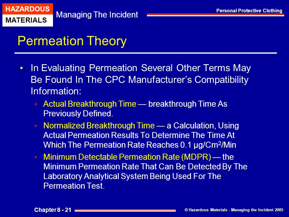 Permeation Theory In Evaluating Permeation Several Other Terms May Be Found In The CPC Manufacturer's Compatibility Information: