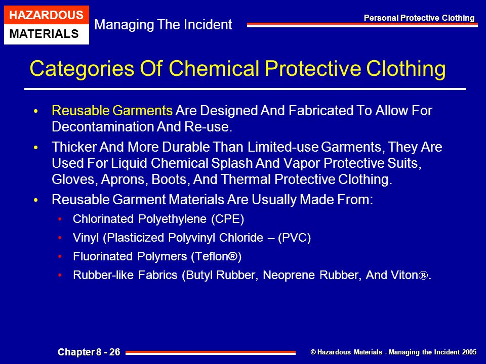 Categories Of Chemical Protective Clothing