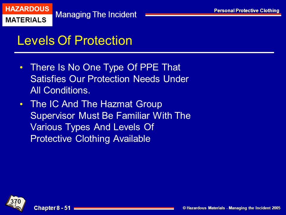 Levels Of Protection There Is No One Type Of PPE That Satisfies Our Protection Needs Under All Conditions.