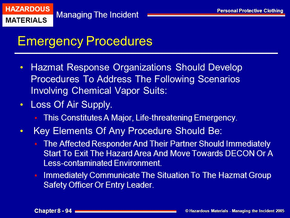 Emergency Procedures Hazmat Response Organizations Should Develop Procedures To Address The Following Scenarios Involving Chemical Vapor Suits: