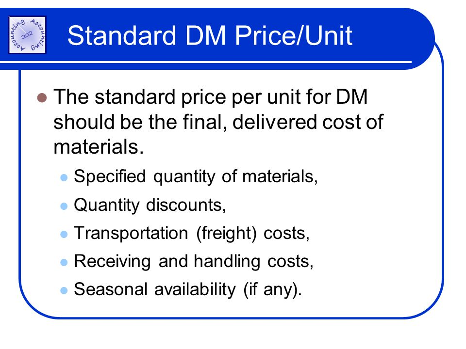 Standard DM Price/Unit