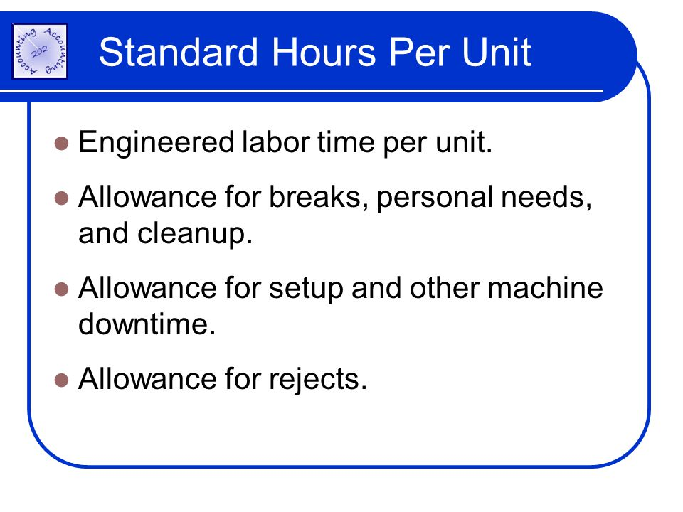 Standard Hours Per Unit