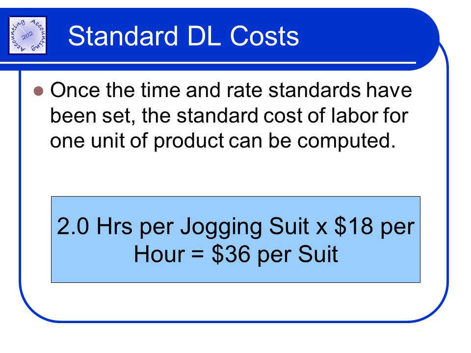 2.0 Hrs per Jogging Suit x $18 per Hour = $36 per Suit