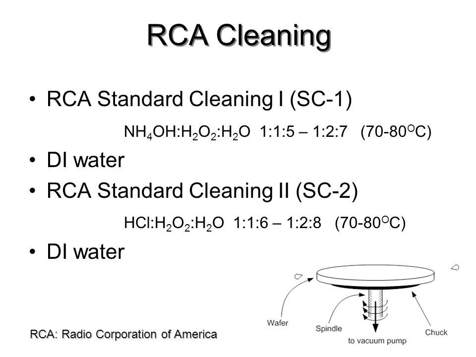 RCA Cleaning RCA Standard Cleaning I (SC-1)
