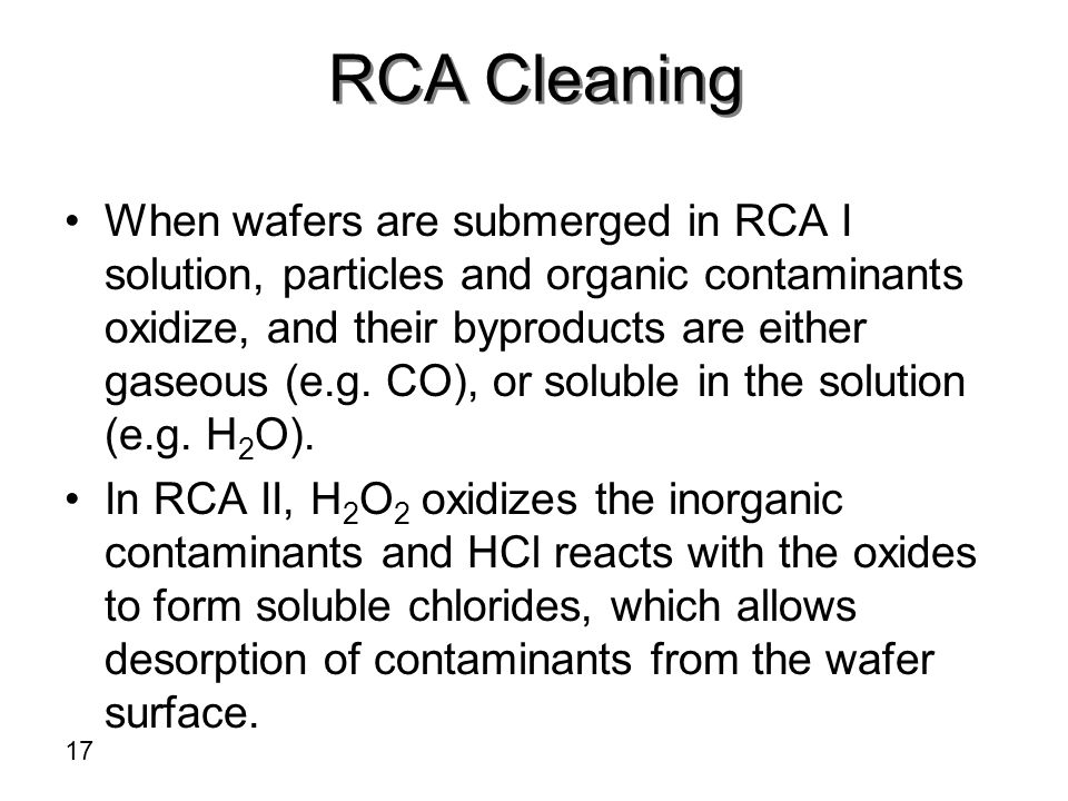 RCA Cleaning