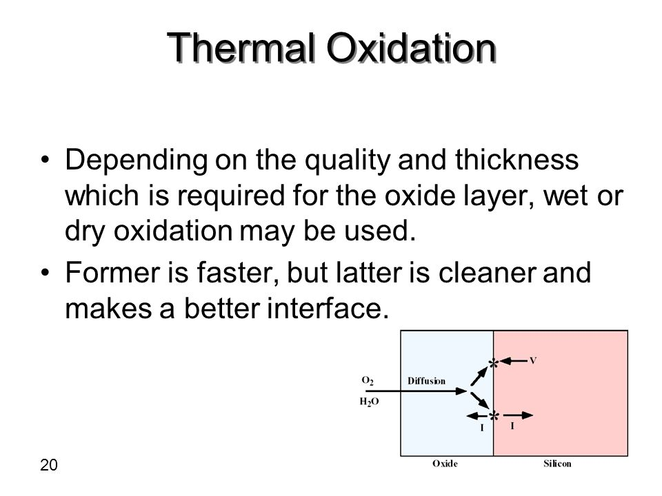 Thermal Oxidation Depending on the quality and thickness which is required for the oxide layer, wet or dry oxidation may be used.