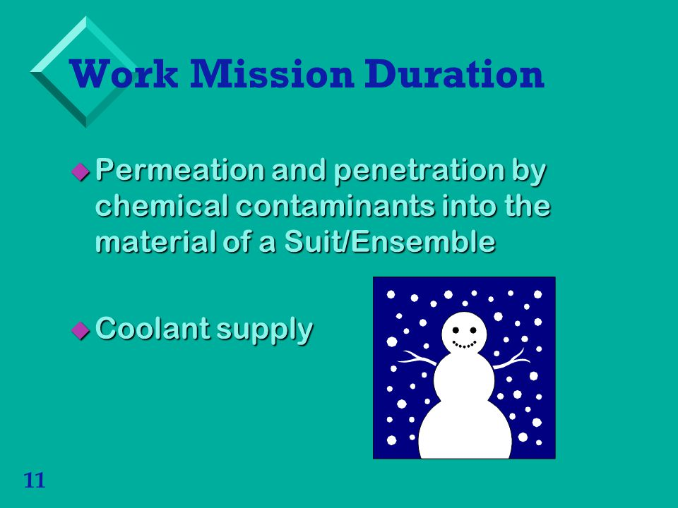 Work Mission Duration Permeation and penetration by chemical contaminants into the material of a Suit/Ensemble.