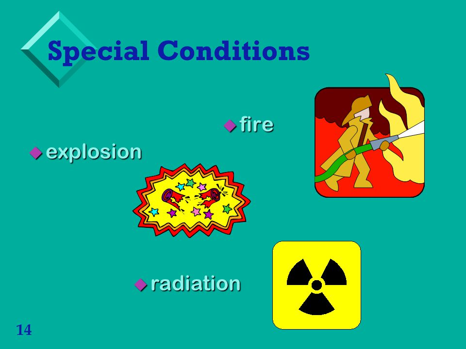 Special Conditions fire explosion radiation