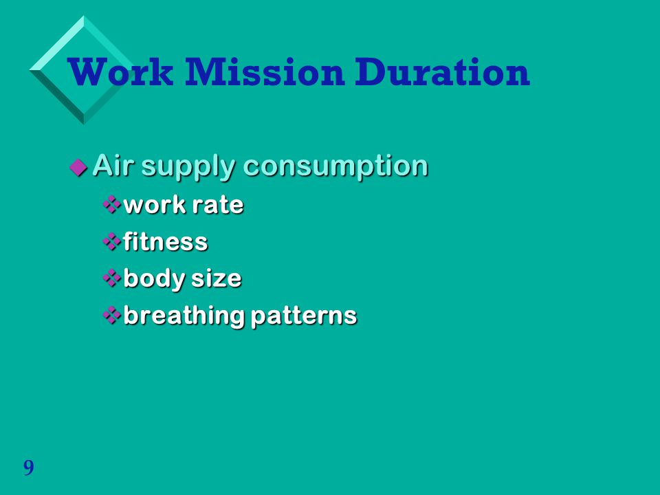 Work Mission Duration Air supply consumption work rate fitness