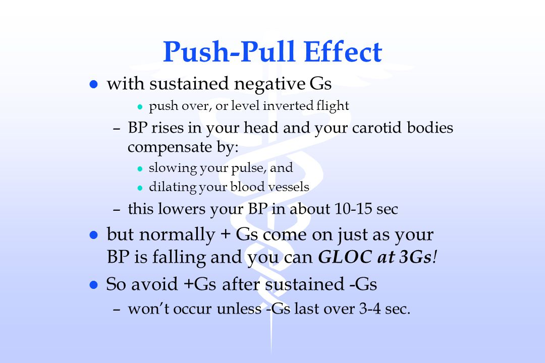 Push-Pull Effect with sustained negative Gs