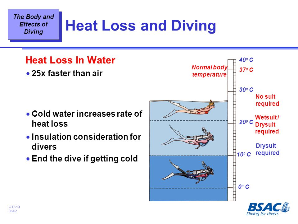 Heat Loss and Diving Heat Loss In Water 25x faster than air