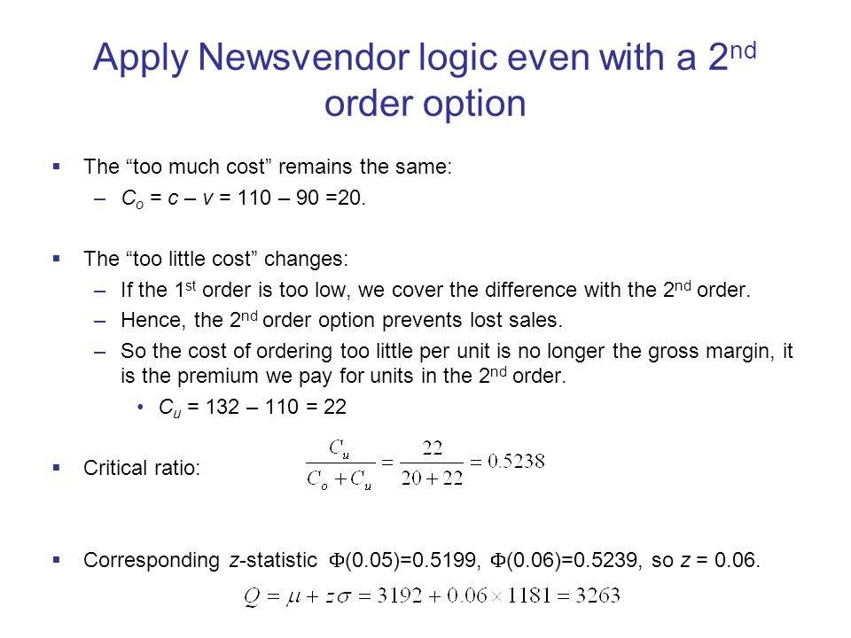 Apply Newsvendor logic even with a 2nd order option
