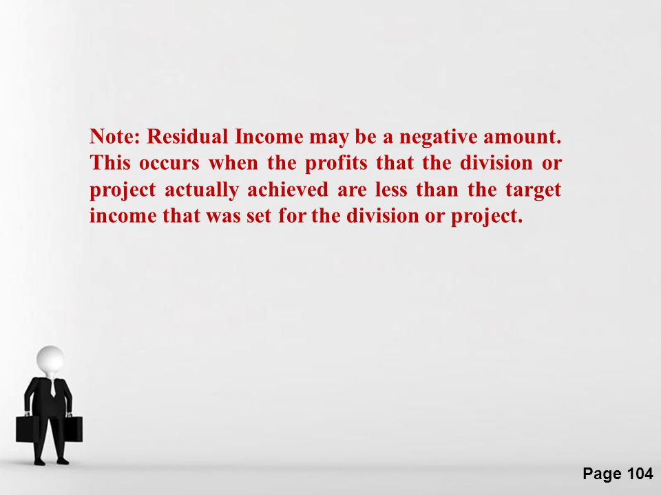 Note: Residual Income may be a negative amount