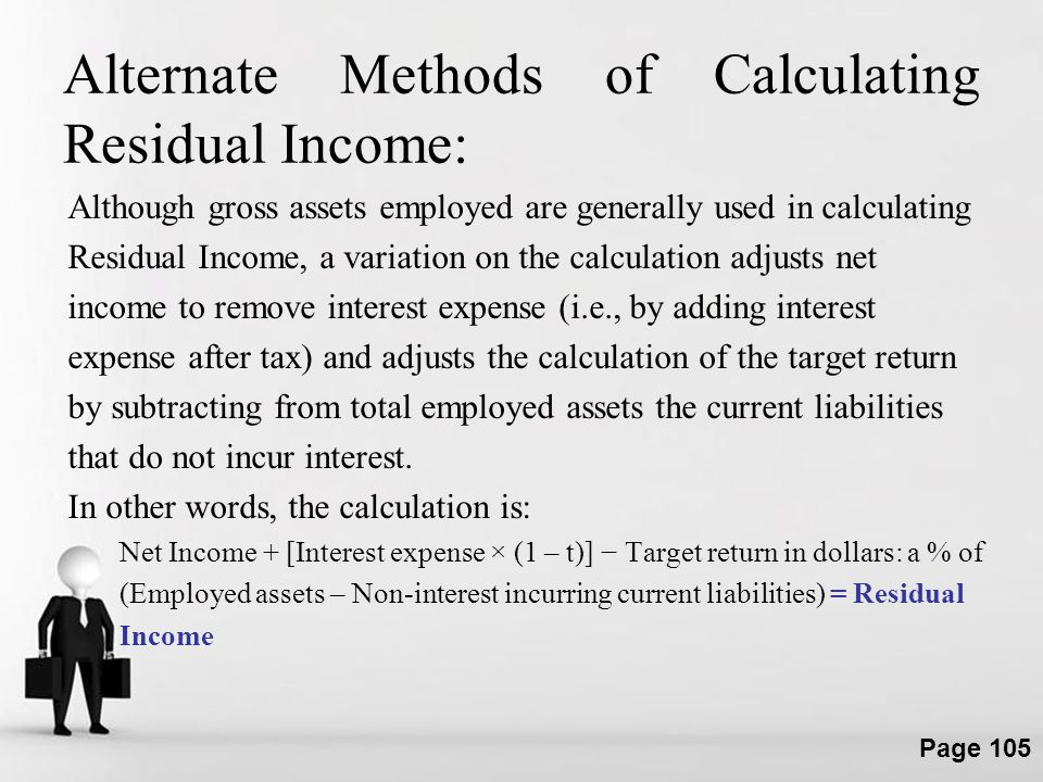 Alternate Methods of Calculating Residual Income: