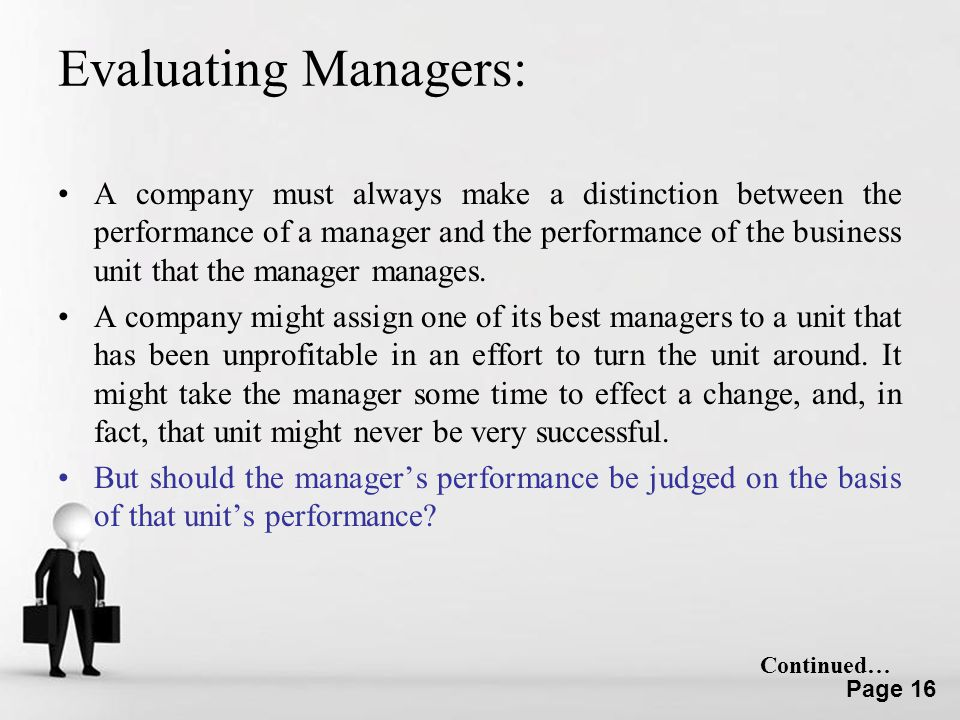 Evaluating Managers: