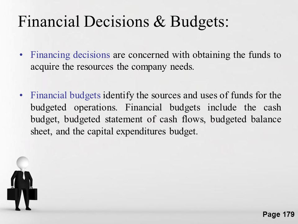 Financial Decisions & Budgets: