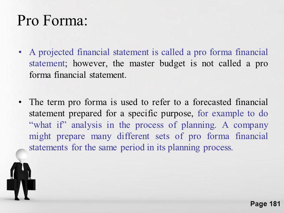 Pro Forma: