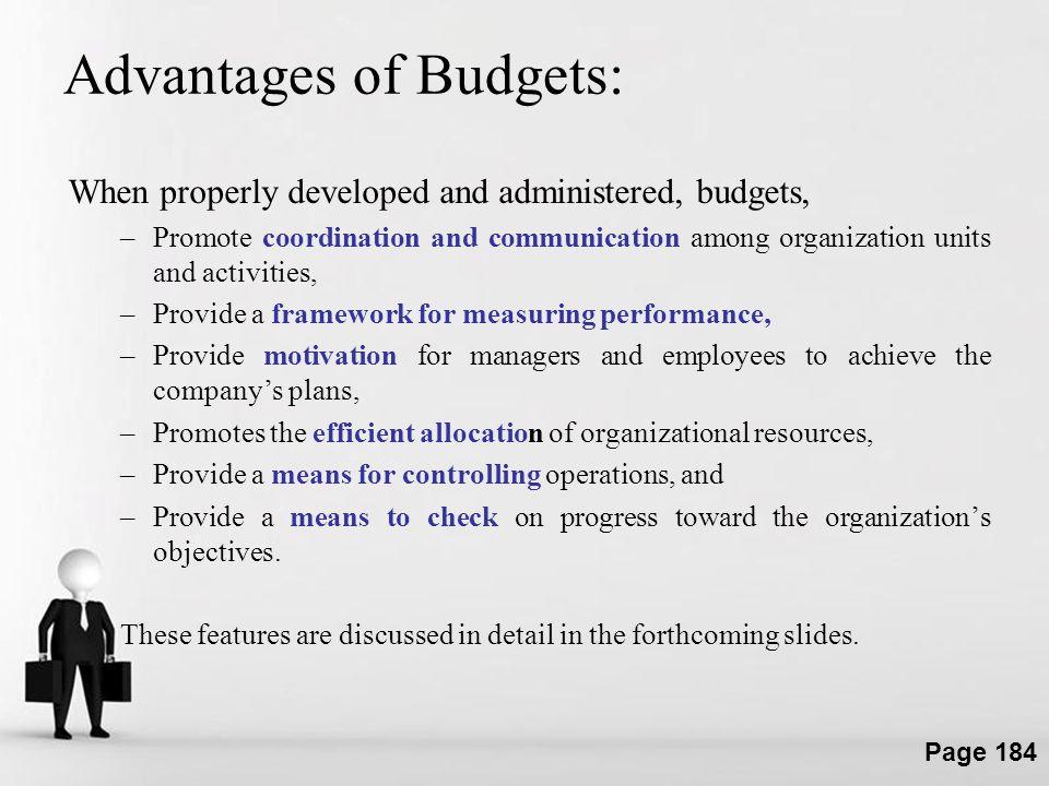 Advantages of Budgets:
