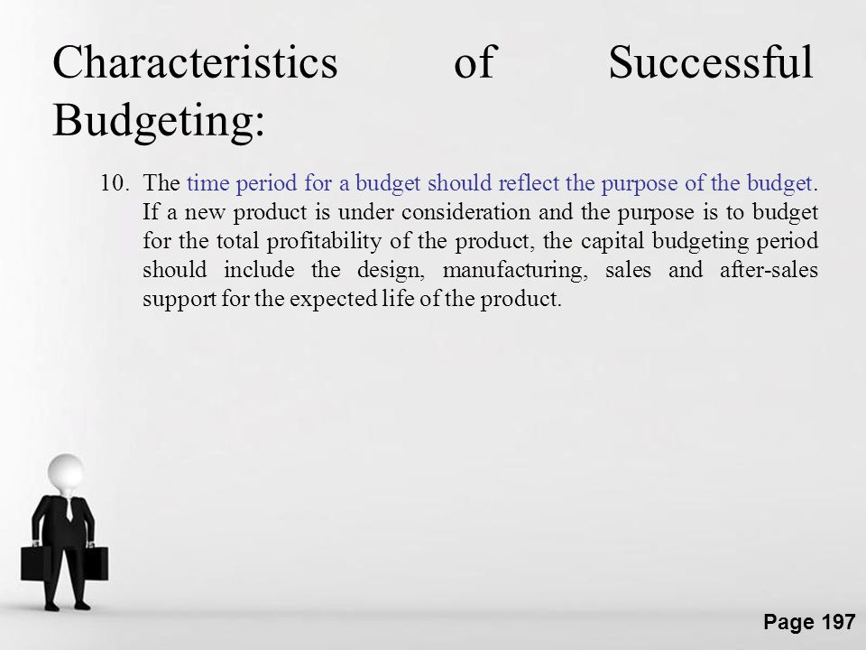 Characteristics of Successful Budgeting: