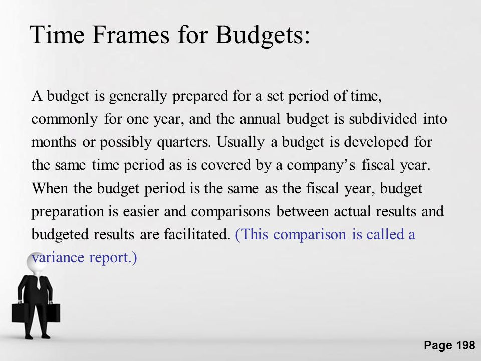 Time Frames for Budgets: