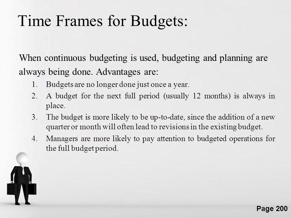Time Frames for Budgets: