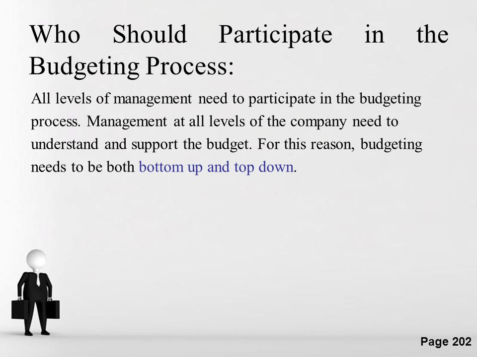 Who Should Participate in the Budgeting Process: