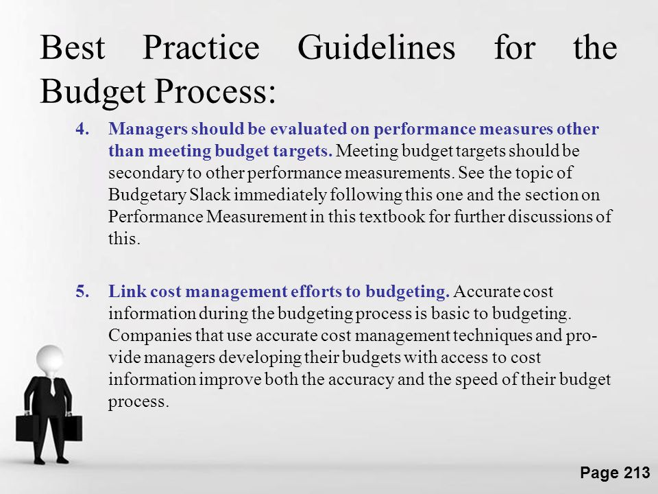 Best Practice Guidelines for the Budget Process: