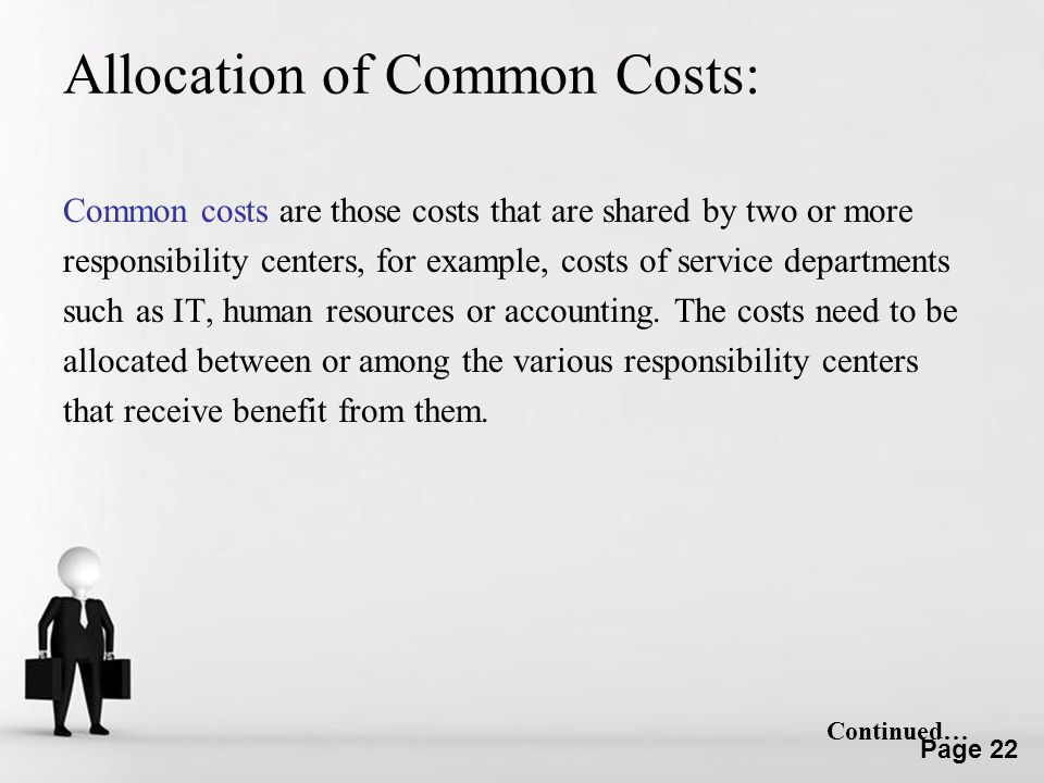 Allocation of Common Costs: