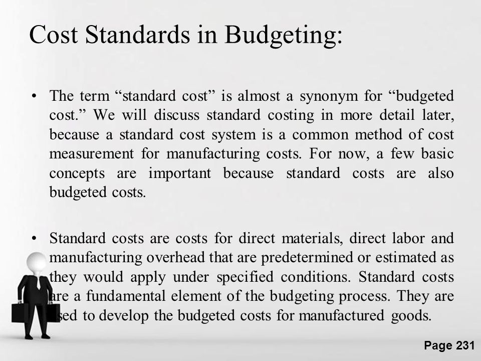Cost Standards in Budgeting: