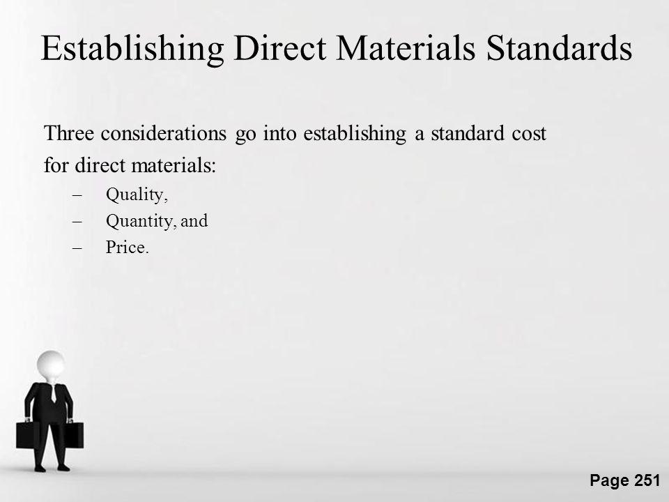 Establishing Direct Materials Standards