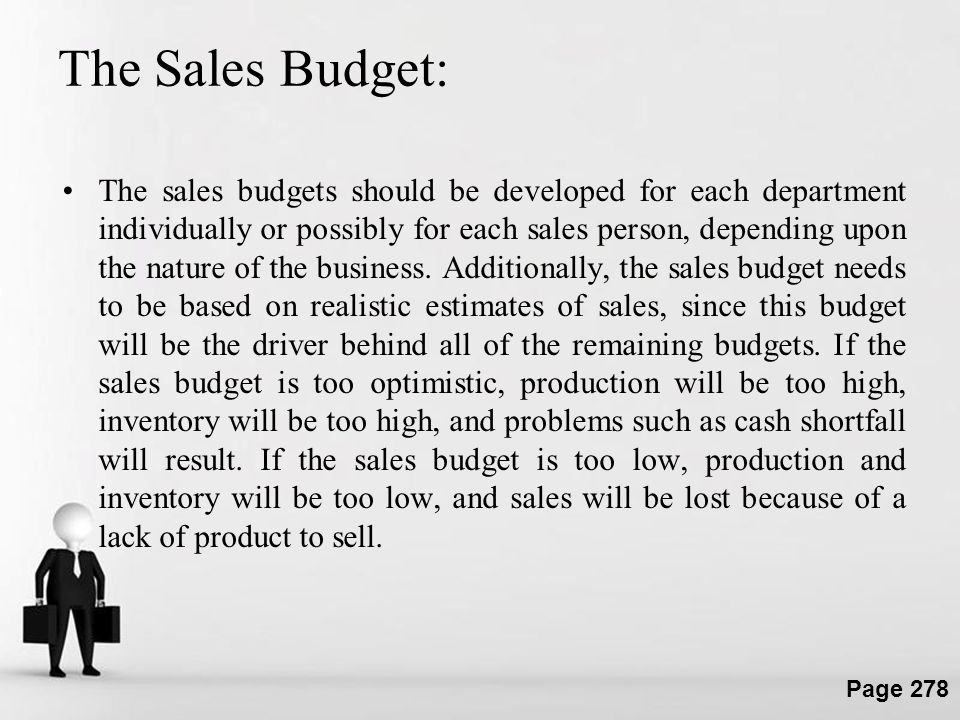 The Sales Budget: