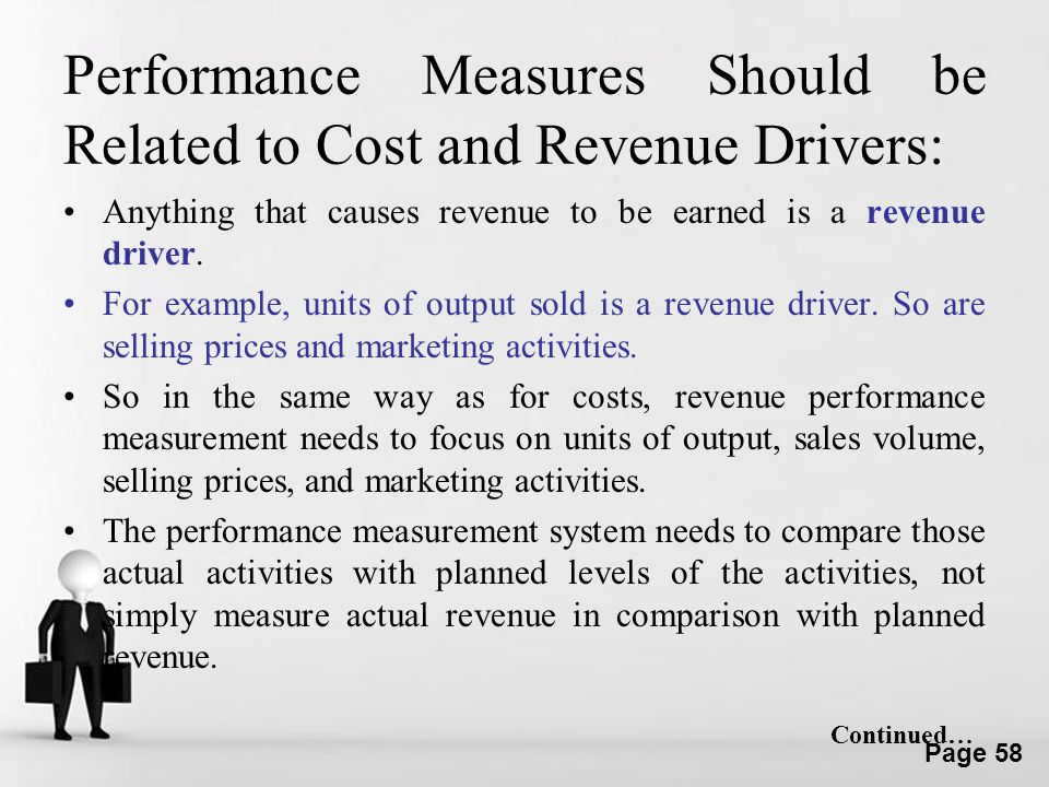 Performance Measures Should be Related to Cost and Revenue Drivers: