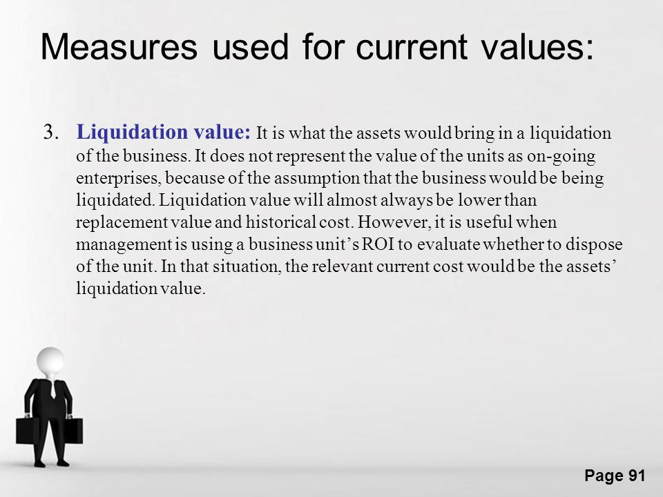 Measures used for current values: