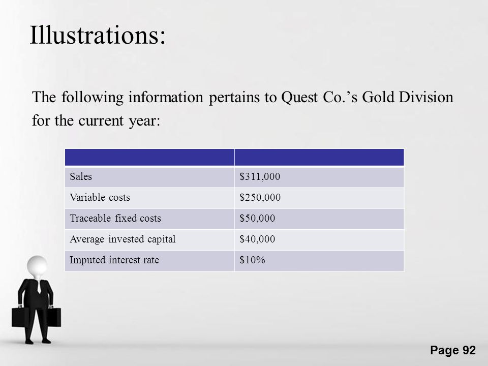 Illustrations: The following information pertains to Quest Co.'s Gold Division for the current year: