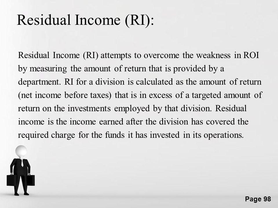 Residual Income (RI):