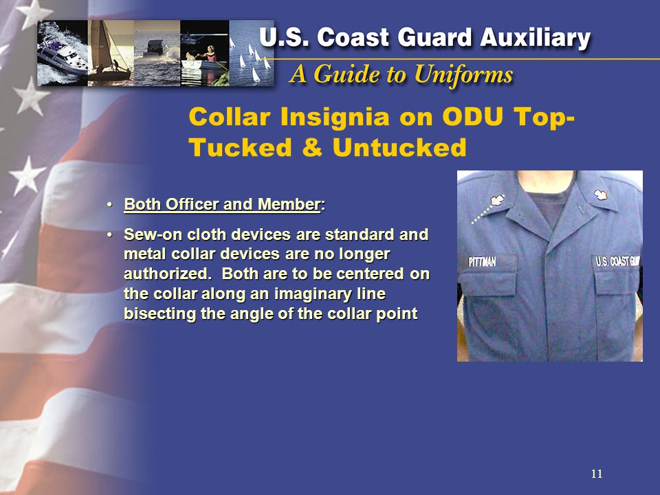 Collar Insignia on ODU Top- Tucked & Untucked