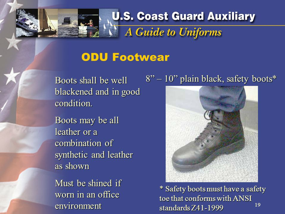 8 – 10 plain black, safety boots*