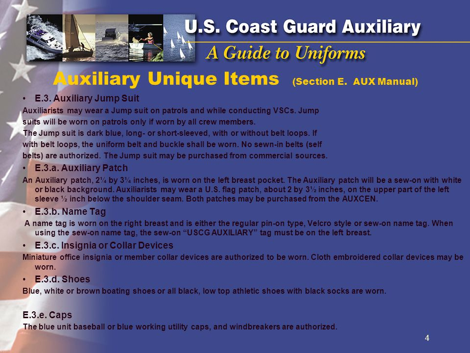 Auxiliary Unique Items (Section E. AUX Manual)