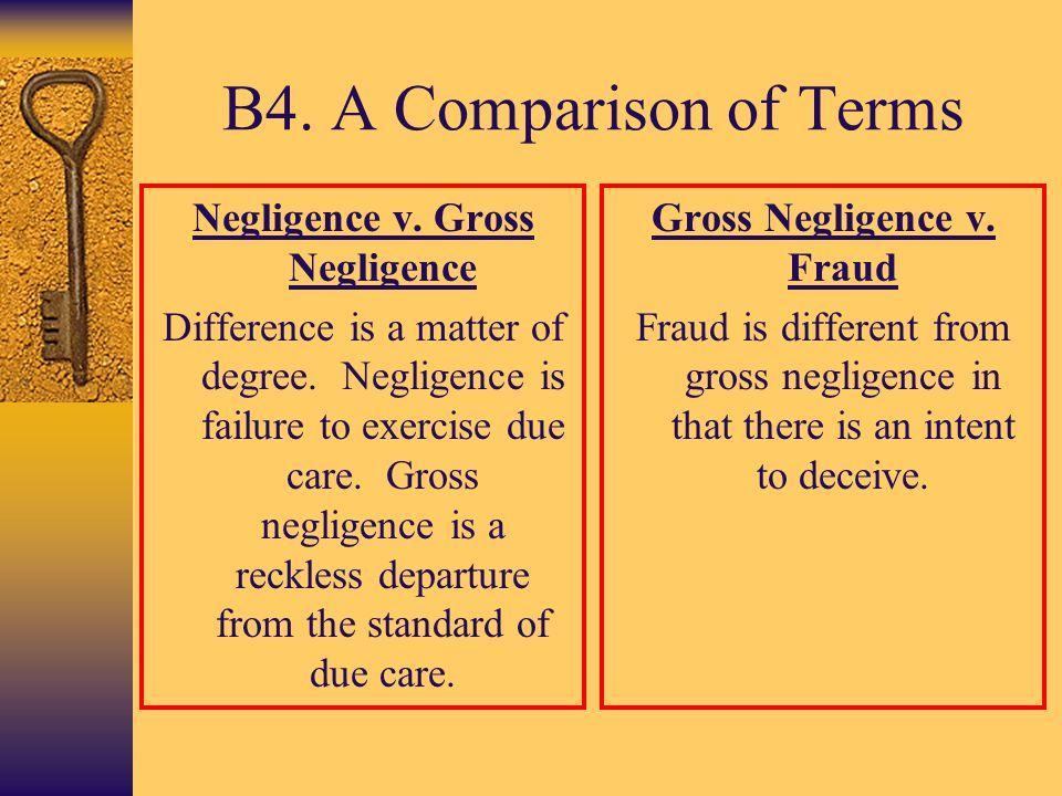 Negligence v. Gross Negligence Gross Negligence v. Fraud