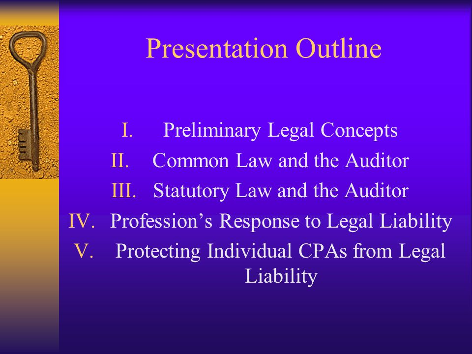 Presentation Outline Preliminary Legal Concepts