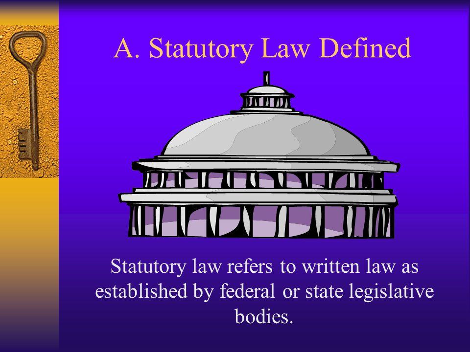 A. Statutory Law Defined