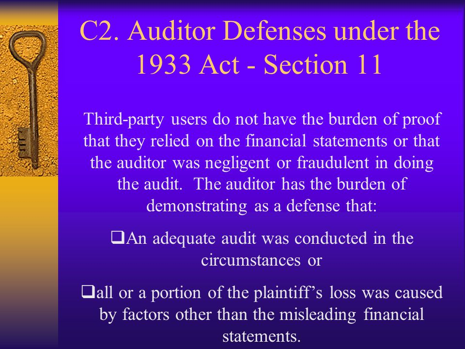 C2. Auditor Defenses under the 1933 Act - Section 11