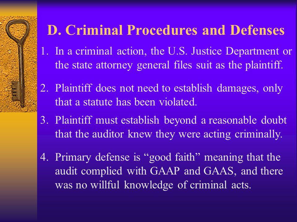 D. Criminal Procedures and Defenses